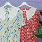 棉麻衫 日安和風印花蕾絲領細棉麻襯衫 二...