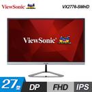 【ViewSonic 優派】27型 無邊框護眼顯示器 (VX2776-SMHD) 【贈USB隨身燈】