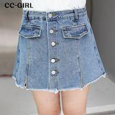 中大尺碼  高腰排釦A字牛仔短褲裙~共兩色 - 適XL~4L《 19301 》CC-GIRL