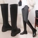騎士靴 女長筒靴 長靴 秋季皮靴粗跟軍靴馬靴 高跟長靴不過膝靴子