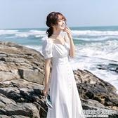2020夏季新款女修身氣質顯瘦方領白色禮服洋裝收腰平時可穿長裙 中秋節全館免運