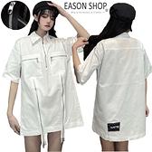 EASON SHOP(GQ0264)實拍獨家韓系超帥設計感十足多拉鍊翻領短袖襯衫連身裙寬鬆寬版遮肉