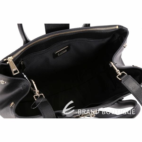 FURLA Metropolis 中型壓紋皮革金釦手提肩背包(黑色) 1830522-01