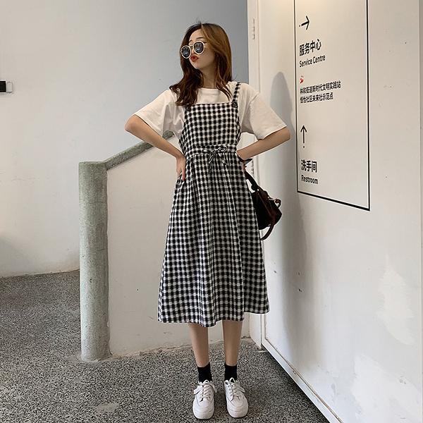 VK旗艦店 韓國風復古格紋吊帶背帶裙無袖洋裝