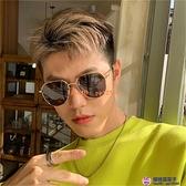 新韓版潮男士多邊形金邊黑色偏光墨鏡開車駕駛大臉顯瘦太陽鏡【櫻桃菜菜子】