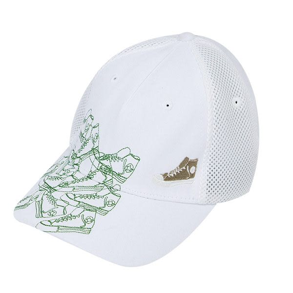 CONVERSE 帆布鞋繡花系列休閒帽(白色) 172U333405