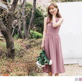 《DA5598-》婚禮系列~肩帶荷葉滾邊扭結設計純色長洋裝 OB嚴選