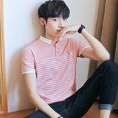 短袖Polo衫短袖男夏季新款韓版潮流翻領純棉POLO衫條紋青年衣服男 貝兒鞋櫃