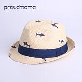 紳士帽 男女寶寶鯊魚紙草草帽嬰兒兒童春夏秋防曬遮太陽帽禮帽涼帽子1-5 快速出貨