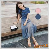 連身裙 兩件式印花網紗短袖洋裝OR8711-創翊韓都
