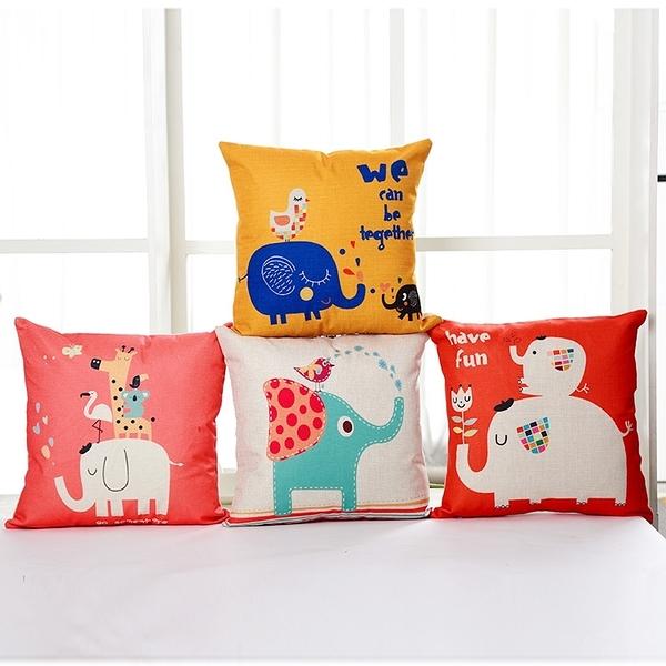 BELLE VIE 卡通風棉麻抱枕套【45cm×45cm】大象派對 多款任選(不含枕芯)