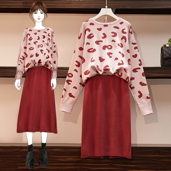 絕版出清 韓系寬鬆開叉針織半身裙豹紋毛衣套裝長袖裙裝