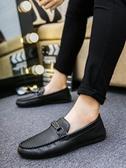 潮流男鞋子休閒豆豆鞋男韓版懶人鞋社會小夥天皮鞋  蘑菇街小屋