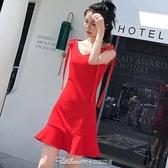 2021新款女裝高腰吊帶a字裙V領包臀裙子魚尾連身裙夏禮服閨蜜裝禮服 阿卡娜