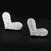 耳環 925純銀 鑲鑽-甜美愛心生日情人節禮物女飾品2色73hz13[時尚巴黎]