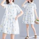 森女系洋裝 森女系寬鬆大碼襯衫裙女夏季新款文藝減齡小清新印花連身裙-Ballet朵朵