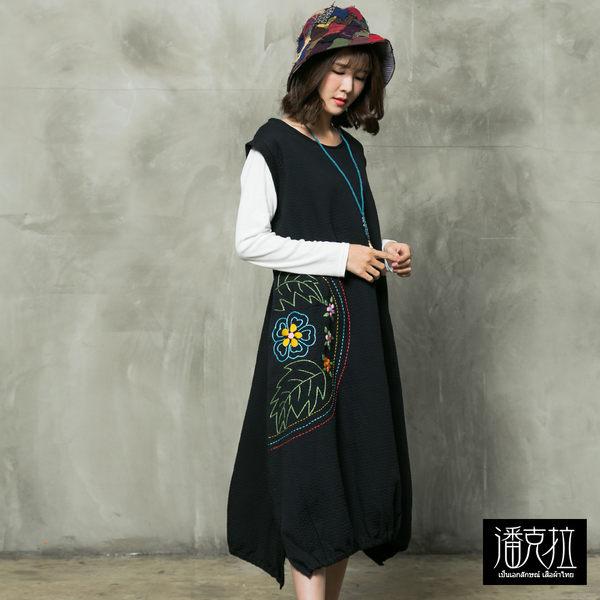 側邊繡花背心連身裙(黑色)-F【潘克拉】