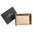 COACH 滿版C LOGO浮雕壓紋亮漆皮革拉鍊手拿包禮盒(米白色)198309