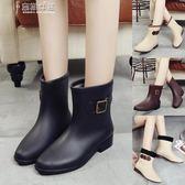 雨靴時尚中筒雨鞋女雨靴短筒水鞋秋冬加絨成人保暖防滑膠鞋水靴套鞋女 奈斯女裝