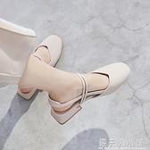 年新款夏季包頭涼鞋女仙女風中跟學生百搭方頭粗跟溫柔單鞋子「錢夫人小鋪」