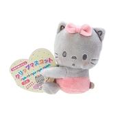小禮堂 許願貓 迷你絨毛玩偶 玩偶萬用夾 夾式玩偶 娃娃夾子 (灰 2021角色大賞) 4550337-61016
