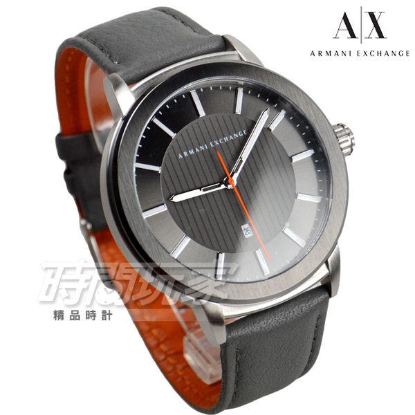 A|X ARMANI EXCHANGE 知性簡約都會男錶 真皮錶帶 防水手錶 日期視窗 鐵灰 AX1462
