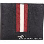 BALLY TONETT 經典紅白條紋黑色證件卡層對折皮夾 1820591-01