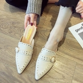 拖鞋女外穿2019新款韓版時尚同款包頭半拖鞋百搭尖頭穆勒鞋潮