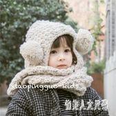 女童帽秋冬新款男女童寶寶可愛球球帽子圍巾一體護耳造型帽 zm9636『俏美人大尺碼』