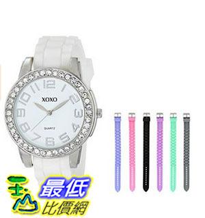 [美國直購] 女錶 XOXO Women s XO9069 Silver-Tone Watch with Seven Interchangeable Bands
