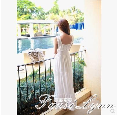 2020夏季新款修身收腰白色長款雪紡連身裙背心露背仙女長裙沙灘裙 范思蓮恩