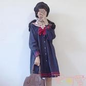 韓版閨蜜裝日系少女海軍領長袖寬松水手服連身裙【聚可愛】