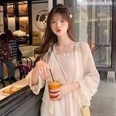 夏季仙女吊帶連衣裙 很仙的短款披肩雪紡衫