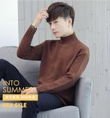 半高領毛衣男秋冬季寬鬆加厚中領針織衫純色修身長袖韓版打底衫潮