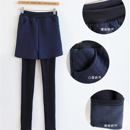 ※現貨 Billgo【L1025029】【加厚加絨】暗格紋假兩件打底褲裙