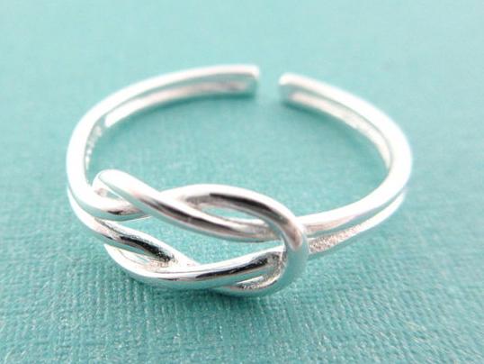 ☆§海洋盒子§☆ 簡約同心結。開口式純銀戒指 《925純銀》