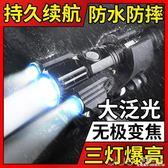 LED山地自行車燈前燈單車燈強光手電筒充電超亮夜騎騎行裝備配件  深藏BLUE