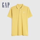 Gap男裝 Logo朱蒂網眼布POLO衫 897003-金黃色