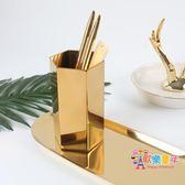 初見 北歐黃銅金色六邊形筆筒插花瓶裝飾物攝影道具金屬桌面擺件