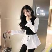特價限購 襯衫拼接假兩件針織衫年秋季新款修身長袖上衣小眾打底衫女裝
