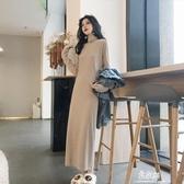 洋裝秋冬新款韓版高冷御姐風洋裝女修身顯瘦高領過膝打底裙長裙 易家樂