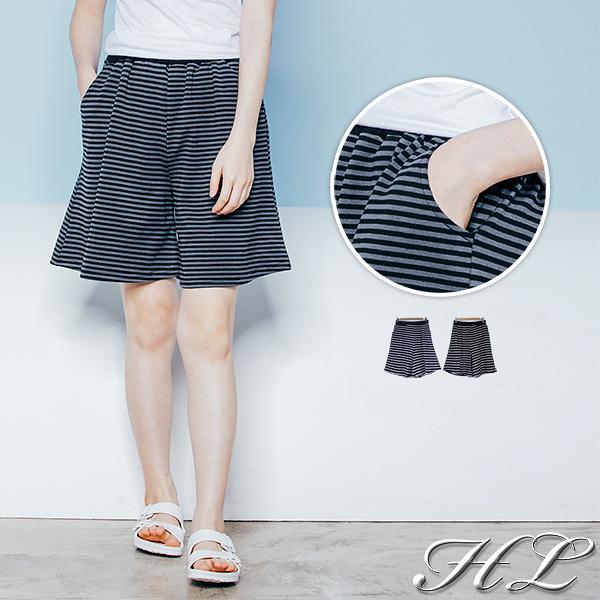 .GAG GLE超大尺碼.【19050050】休閒時尚條紋棉質雙口袋舒適短褲 2色