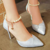 細跟鞋 新款韓版百搭高跟鞋串珠包頭涼鞋尖頭銀色磨砂單鞋女 - 古梵希