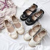娃娃鞋/原創仙露少女洛麗塔低跟學院風蕾絲邊小皮鞋公主鞋