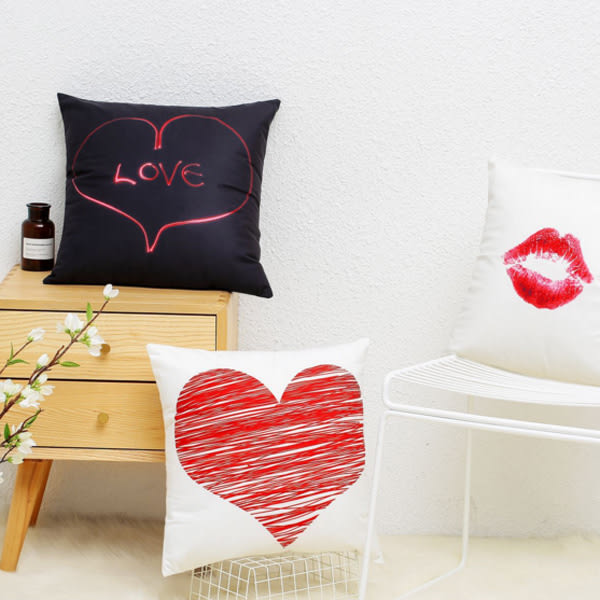 【BlueCat】愛心唇印系列短毛絨棉麻抱枕腰枕套 枕頭套