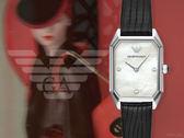【時間道】EMPORIO ARMANI亞曼尼 時尚復古女伶八角形腕錶/白貝面黑壓紋皮(AR11148)免運費