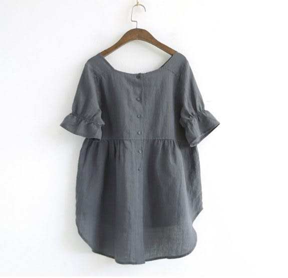 【E124-0077】 日系方領純色上衣-(現)鬆緊袖棉麻T恤(SIZE約:L)☆貝兒