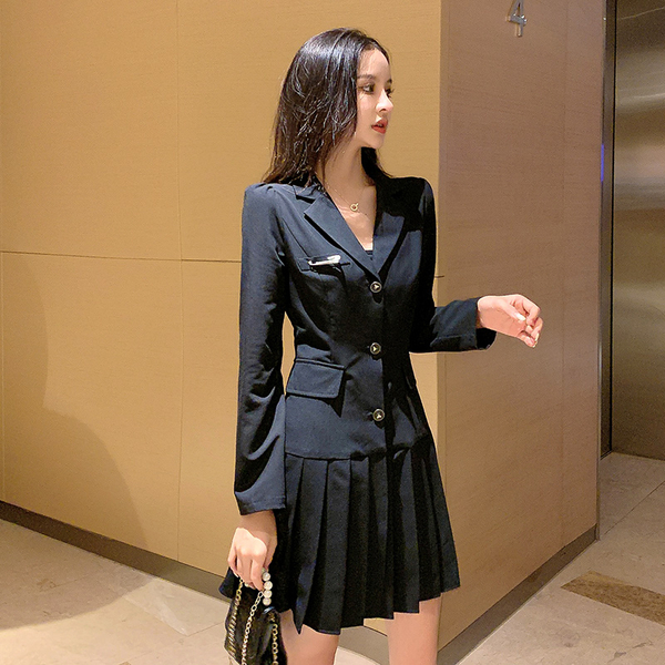 超殺出清 韓國風壓褶修身氣質西裝長袖洋裝