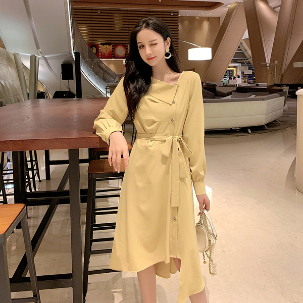 VK旗艦店 韓國風浪漫不規則氣質時尚長袖洋裝