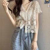 夏季新款韓版V領洋氣鉤花鏤空蕾絲衫顯瘦百搭短袖開衫上衣女